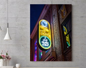 Large Nashville Wall Art, Neon Light Photography Print, Tin Roof Country Music Decor, Man Cave, Basement Art, Tennessee Photo, Gift for Him