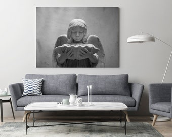 Oversized Wall Art, Black and White Photography, Angel Print, Savannah Georgia Art, Living Room Decor, Bedroom Decor, Bonaventure Cemetery