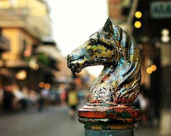 "New Orleans Art. ""Hitching Post #2"" French Quarter Photograph,  Fine Art Print. Mardi Gras, Horse Colorful. 8x10, 11x14, 16x20, 20x24, 24x30"