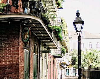 French Quarter Art Photograph, Travel Print, New Orleans Wall Art, Pirates Alley Print, Black and White Street Lamp, 11x14 Travel Print