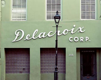 New Orleans Photography, Architecture Print, Delacroix Building, Streetlamp, Wall Art Home Decor, Fine Art Print, Travel Photo, Gift for Him