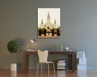 New Orleans Canvas Gallery Wrap, St. Louis Cathedral, Jackson Square Art Photograph, Ready to Hang, 8x10, 11x14, 16x20, 20x24, 20x30, 24x36+