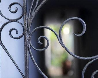 Wrought Iron Scroll Photography, Charleston Ironwork, South Carolina Fine Art Print, Architecture Picture, Blue Black Wall Art, Home Decor
