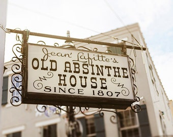 Louisiana Bar Sign, New Orleans Fine Art Photography, Old Absinthe House, French Quarter Print, Jean Lafitte, Black, White, Wal Art