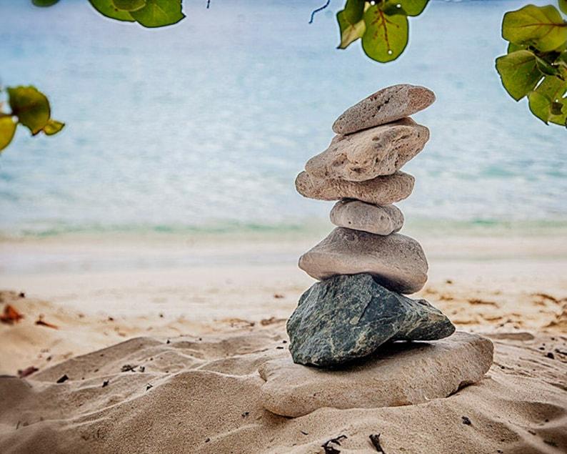 Beach Photography Zen Photograph of Stacked Rocks St. John image 0