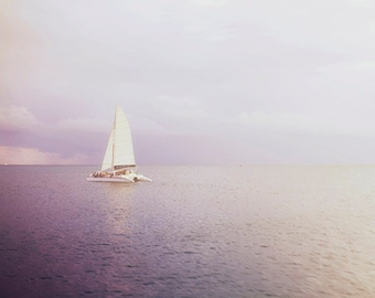"Ocean Photography, Sailboat Fine Art Picture. ""Out Across the Endless Sea"" Caribbean Sunset Photograph. St. John, USVI."