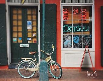 Dejavu Bicycle Print, New Orleans Louisiana, French Quarter Art, Large Wall Art, NOLA Photography, 8x10, 11x14, 16x20, 20x24, 20x30