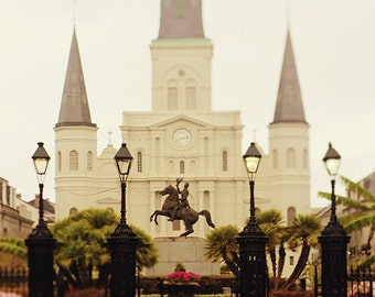 Living Room Wall Decor, New Orleans Fine Art Photograph, St. Louis Cathedral Print, Large Wall Art, Jackson Square Travel Print