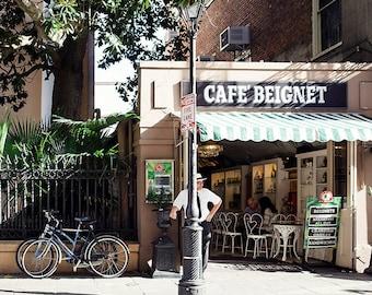 Cafe Beignet Print, New Orleans Louisiana, French Quarter Art, Large Wall Art, NOLA Photography, Cafe, 8x10, 11x14, 16x20, 20x24, 20x30
