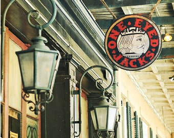 "New Orleans Photography. French Quarter Photograph ""One Eyed Jacks"" Print. Mardi Gras. Travel Sign. 8x10, 11x14, 16x20, 20x24, 24x30, 24x36"