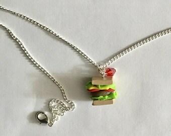 Sandwich pendant necklace, wedding party favor, gift,