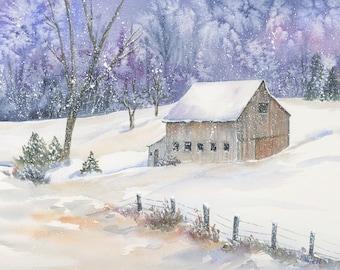 Snow - Barn - Winter - Watercolor - Landscape