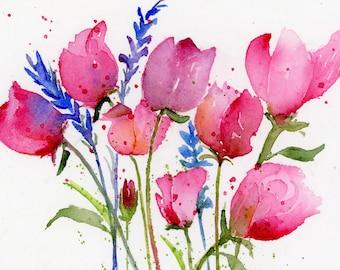 Tulips - Flowers - Watercolor Print