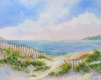 Cape Cod - Dune Fence - Beach - Watercolor