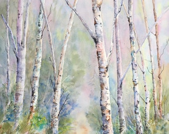 Birch Trees - Wall Art - Watercolor Print