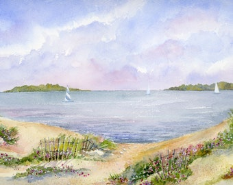 Cape Cod - Art - Watercolor - Beach - Sailing