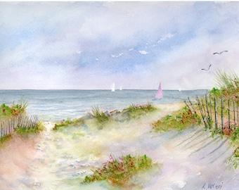 Cape Cod - Sailboat - Pink - Beach Roses