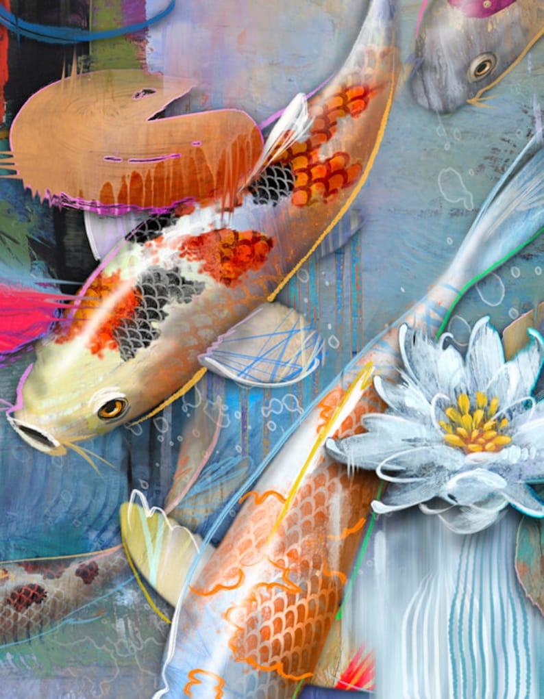 Items similar to 2 Swimming Koi Fish -- Modern ... |Modern Koi Fish Painting