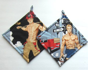 Sexy Hunky Hot Firemen First Responder Quiltsy Handmade Pot Holders Set of Two