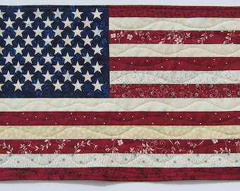 American Flag Red White and Blue Patriotic Wall Hanging Quiltsy Handmade
