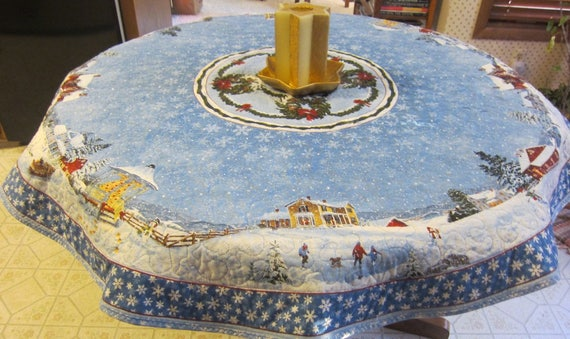 Blue Christmas 54 Round Quilted Table Cloth  Snowflakes Christmas Scenes Round Reversible Quiltsy Handmade