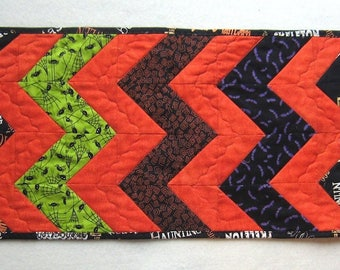 Halloween Table Runner or Table Topper Black Orange Green and Purple Quiltsy Handmade