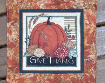 Give Thanks Fall Autumn Harvest Wall Quilt or Table Topper Quiltsy Handmade