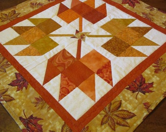 Elegant Fall Autumn Leaves Pieced Quilted Table Topper