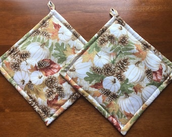Fall Autumn Harvest Pumpkin Pinecones and Fall Leaves Pot Holders Set of Two Quiltsy Handmade