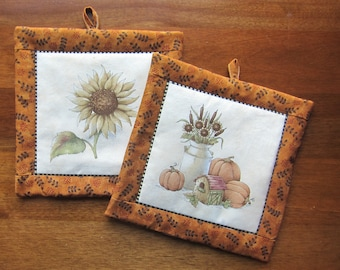 Sunflower and Cream Can with Pumpkins Fall Harvest Quilted Pot Holders Set of Two Quiltsy Handmade