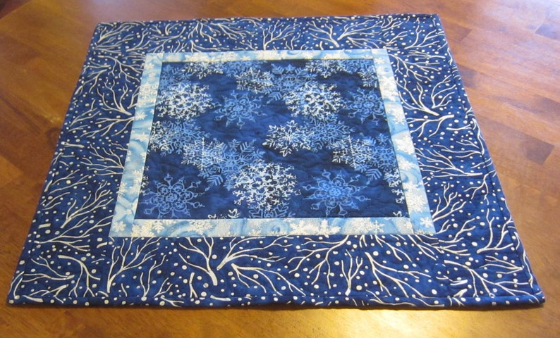 Snowflake on Blue Batik Metallic Trees Quilted Table Topper Quiltsy Handmade