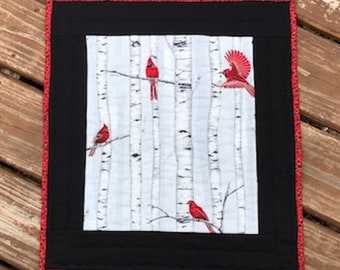 Cardinal Quilted Table  Topper Wall Hanging Red Birds and Birch Trees on Grey Christmas Winter Quiltsy Team Handmade