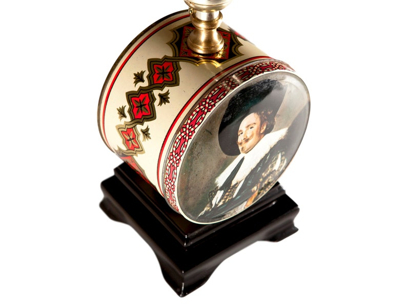 Vintage Portrait Tin Up-cycled Small Round Lamp with New Black Lampshade