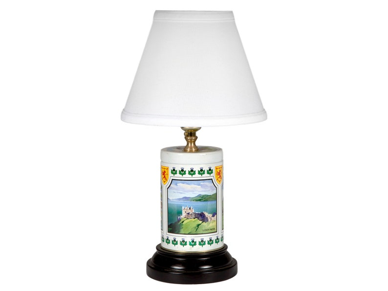 Unique Scottish Landscape Light Vintage Scenes of Scotland Tin Up-cycled Lamp with New Fabric Lampshade