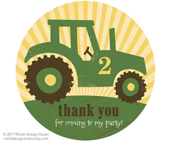 Big Green Tractor Party Stickers Little Boy Tractor Birthday Etsy