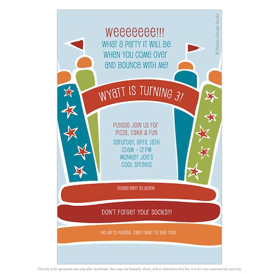 Bounce House Bouncy Castle Children/'s Birthday Party Invitations