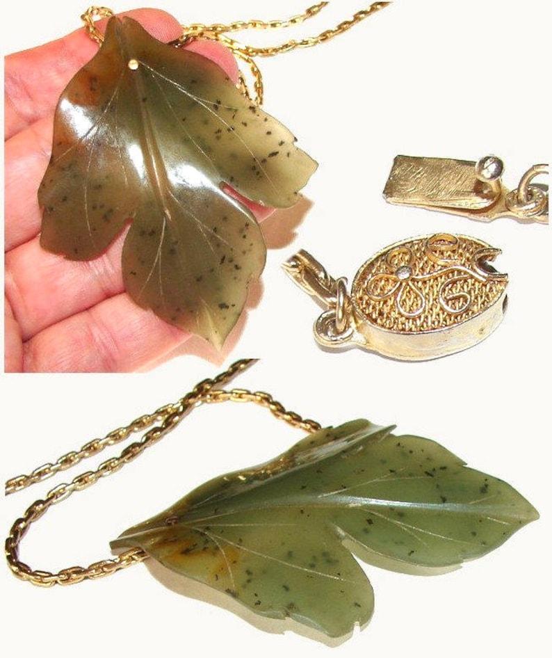 Genuine Huge Very Large Real Jade Vintage Nephrite Gold Figural Leaf Mid Century Asian China