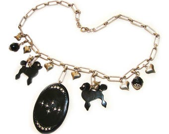 Art Deco Black Jet Carved Celluloid Dogs Stunning 1930s Jeweled Charm Necklace