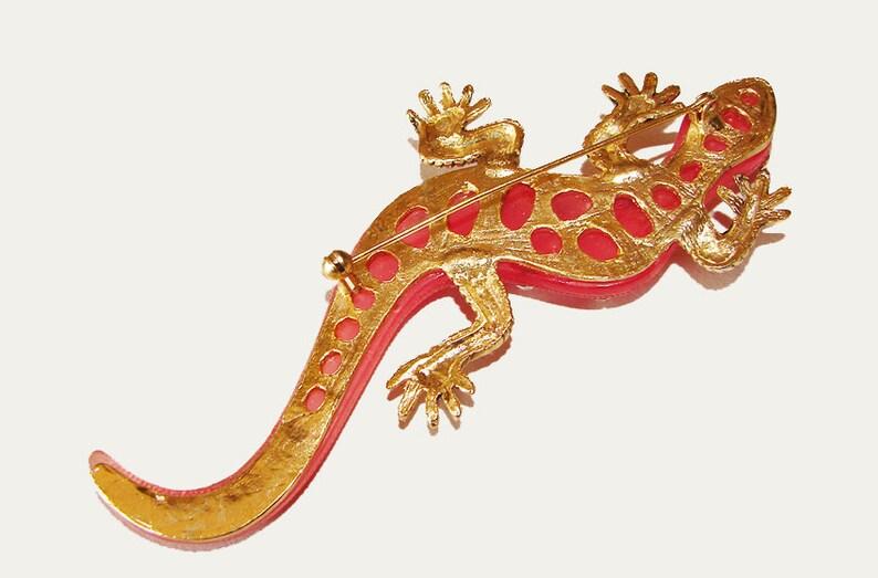 Superb Huge Big Bold Vintage Brooch 5 Long Rhinestone Jeweled Very Large Lizard Gecko Unusual Pin