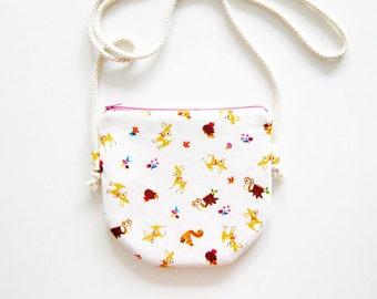75ea5e0179 Fabric Crossbody Bag   Zipper Bag   Pouch Bag - Woodland Animals - Choose  Cotton Strap Color of Your Choice