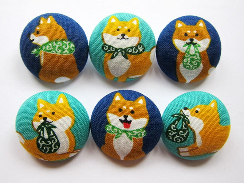 Shiba Inu Sewing Buttons  Fabric Buttons 6 Large Fabric Buttons FREE SHIPPING