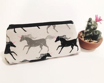 Unicorn Makeup Bag, Cosmetic Bag, Gadget Bag, Zippered Pouch, Unicorn Bag
