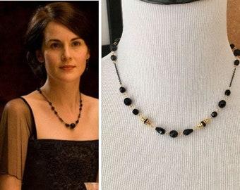 Lady Mary Crawley Downton Abbey Swarovski Black Bead Gold Art Deco Necklace