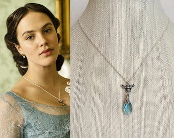 Downton Abbey Sybil Crawley Silver Bumble Bee Blue Swarovski Crystal Necklace