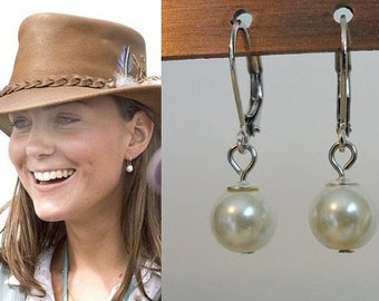 Kate Middleton White Pearl Drop Earrings Sterling Silver