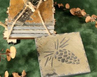 Natural Slate Coaster Set - Pinecone in Buff Stone