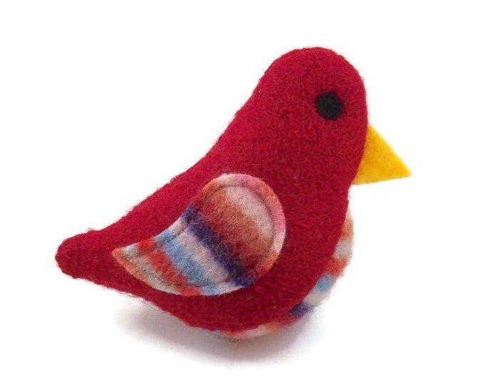 Featured listing image: Birds of a Sweater Catnip Cat Toy - Red and Stripes