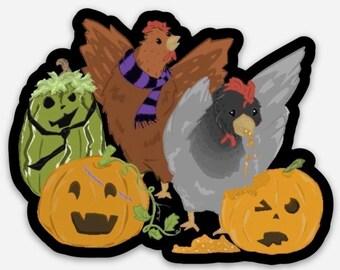 Chickens and Jack-o-lanterns 3 inch Sticker