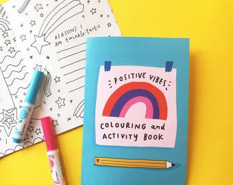 Positive Vibes Colouring and Activity Book - Self Care / Journal / Workbook