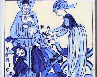 "Copeland 8"" Blue & White Tile Shakespeare Hamlet and Yorick"